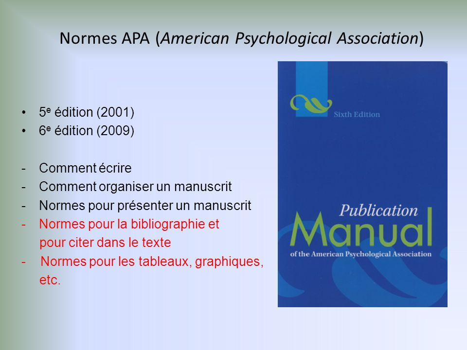 Normes APA (American Psychological Association)