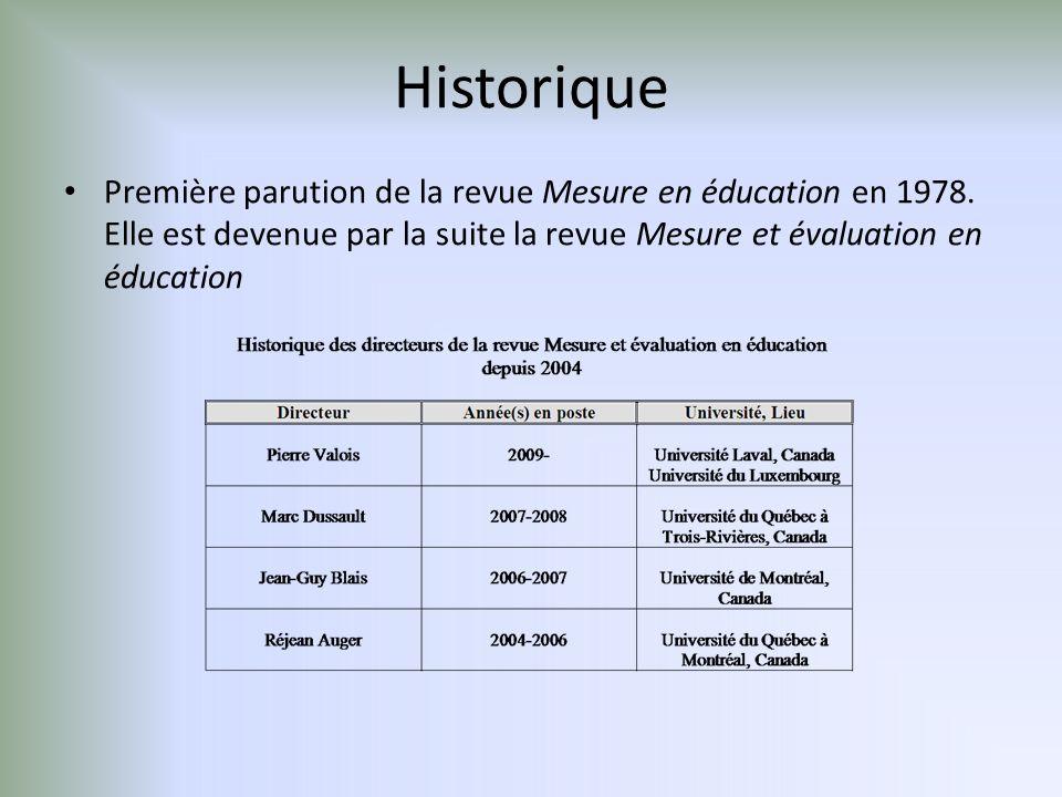 Historique Première parution de la revue Mesure en éducation en 1978.