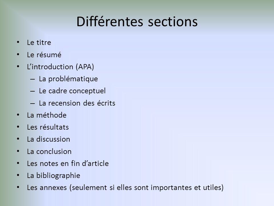 Différentes sections Le titre Le résumé L'introduction (APA)