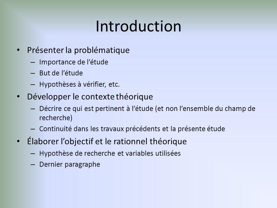 Introduction Présenter la problématique
