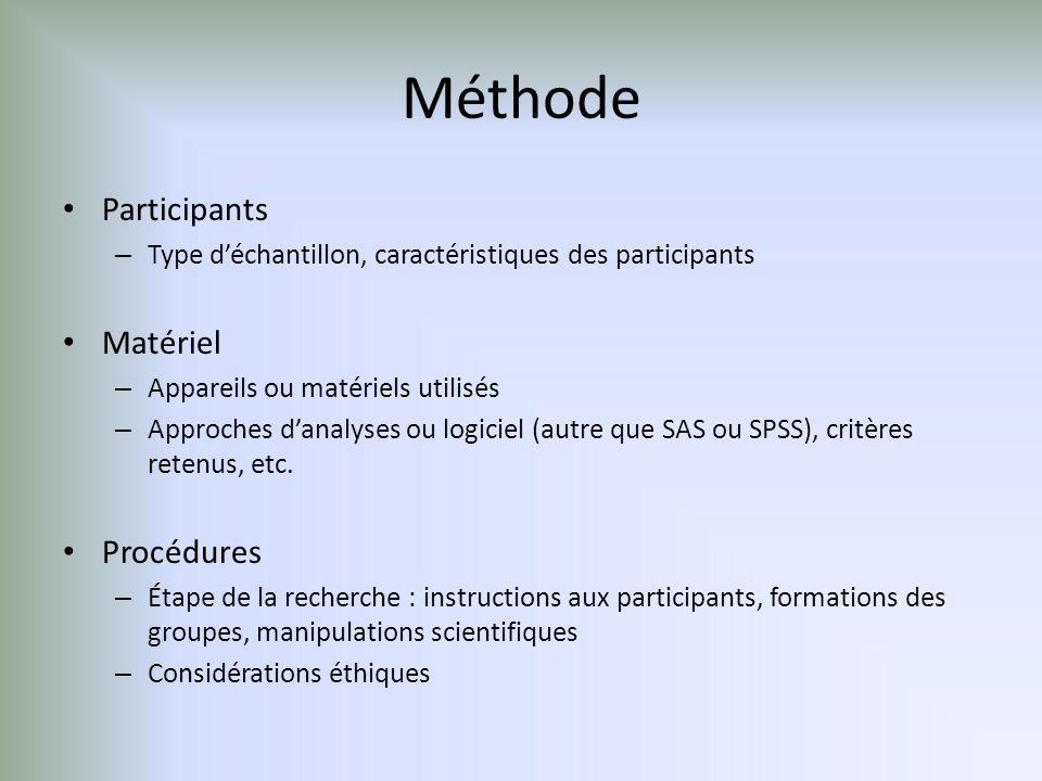 Méthode Participants Matériel Procédures