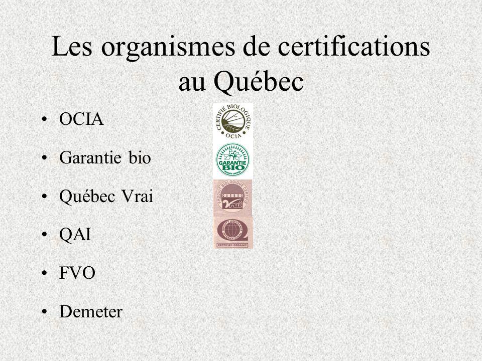 Les organismes de certifications au Québec