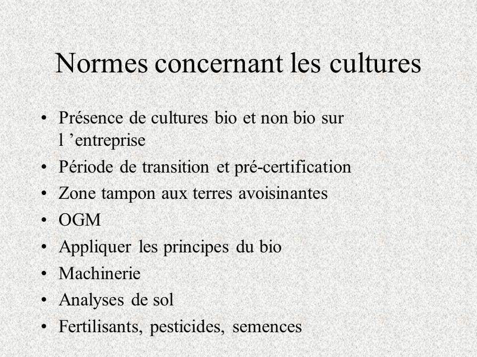 Normes concernant les cultures