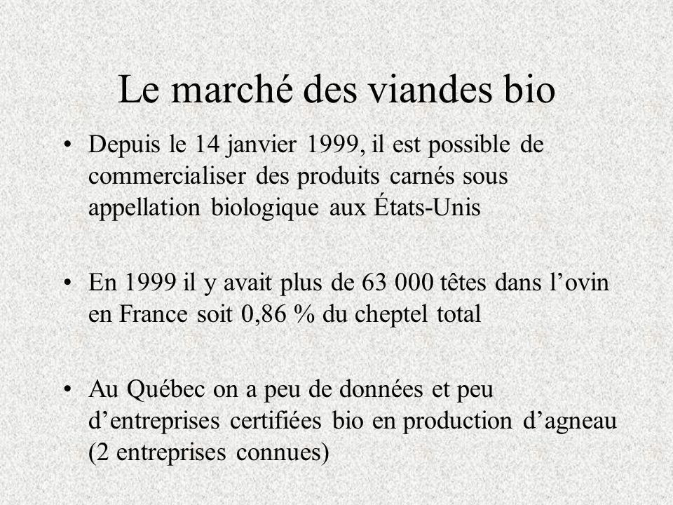 Le marché des viandes bio