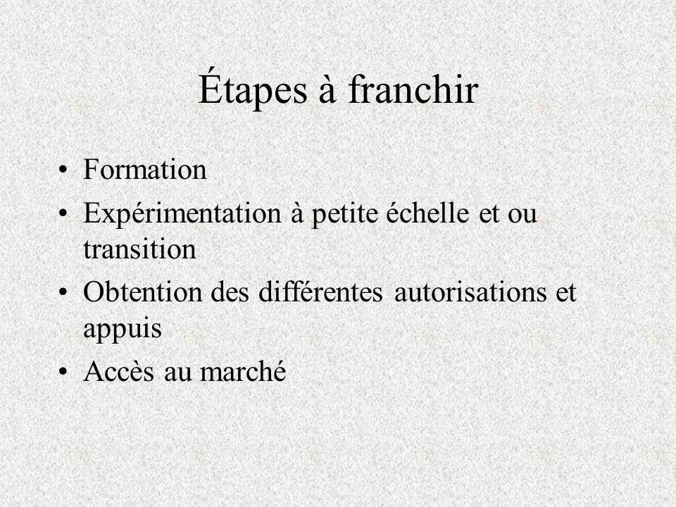 Étapes à franchir Formation