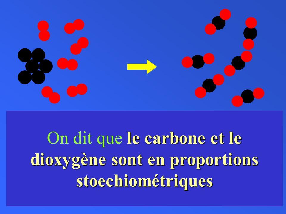 On dit que le carbone et le dioxygène sont en proportions stoechiométriques
