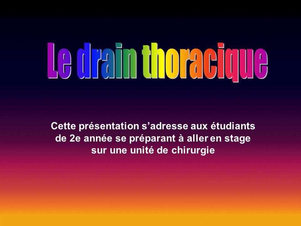 Le drain thoracique Cette présentation s'adresse aux étudiants de 2e année se préparant à aller en stage sur une unité de chirurgie.
