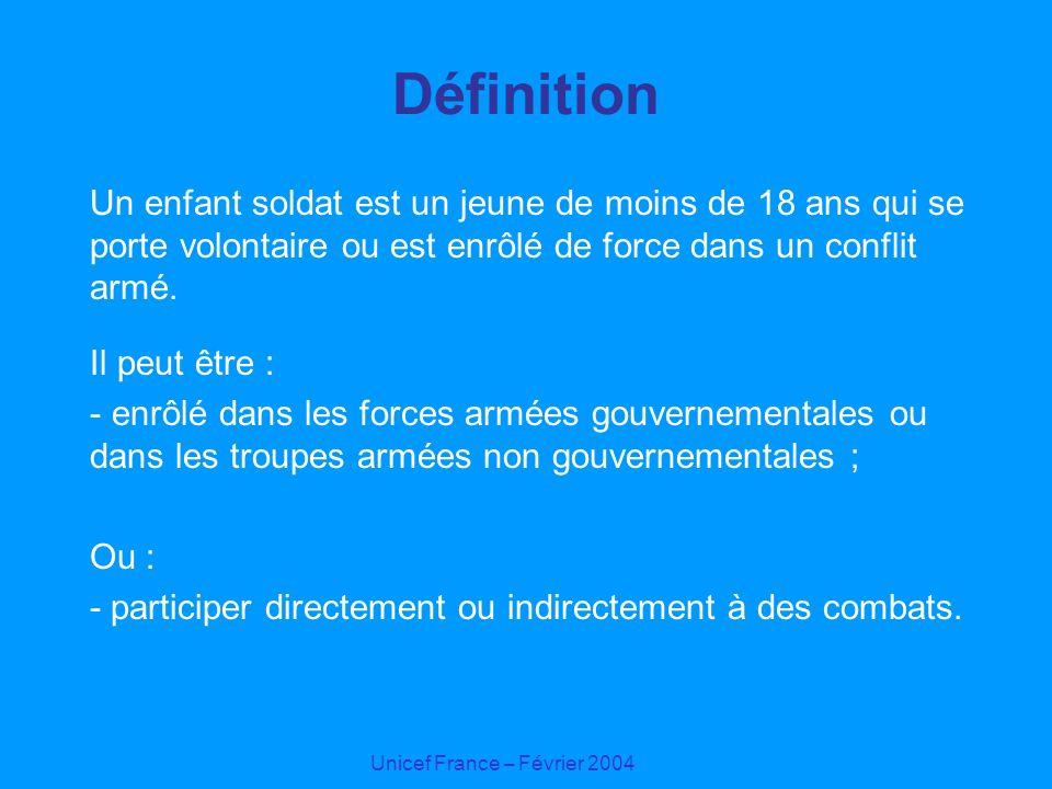 Définition Un enfant soldat est un jeune de moins de 18 ans qui se porte volontaire ou est enrôlé de force dans un conflit armé.