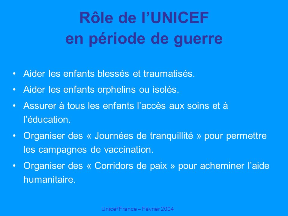 Rôle de l'UNICEF en période de guerre