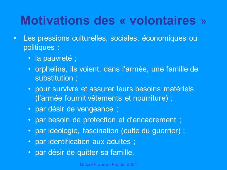 Motivations des « volontaires »