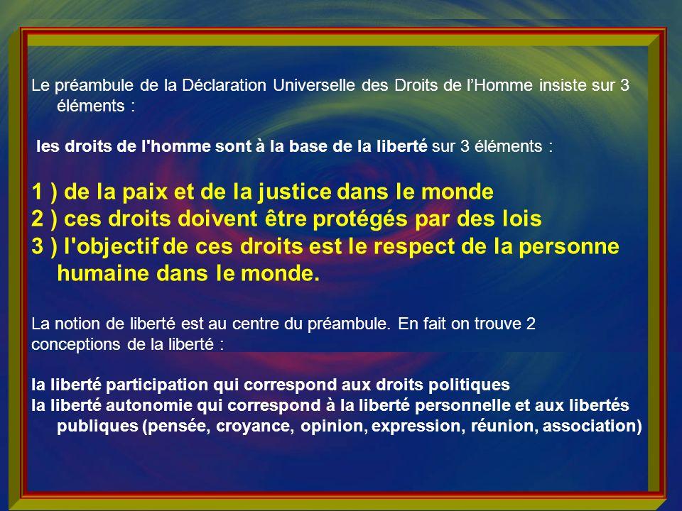 1 ) de la paix et de la justice dans le monde