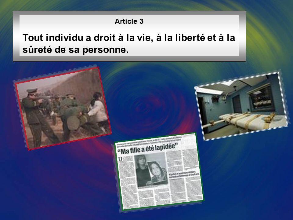 Article 3 Tout individu a droit à la vie, à la liberté et à la sûreté de sa personne.