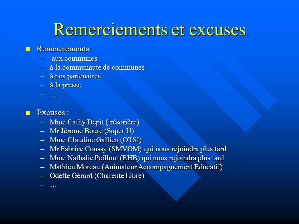 Remerciements et excuses