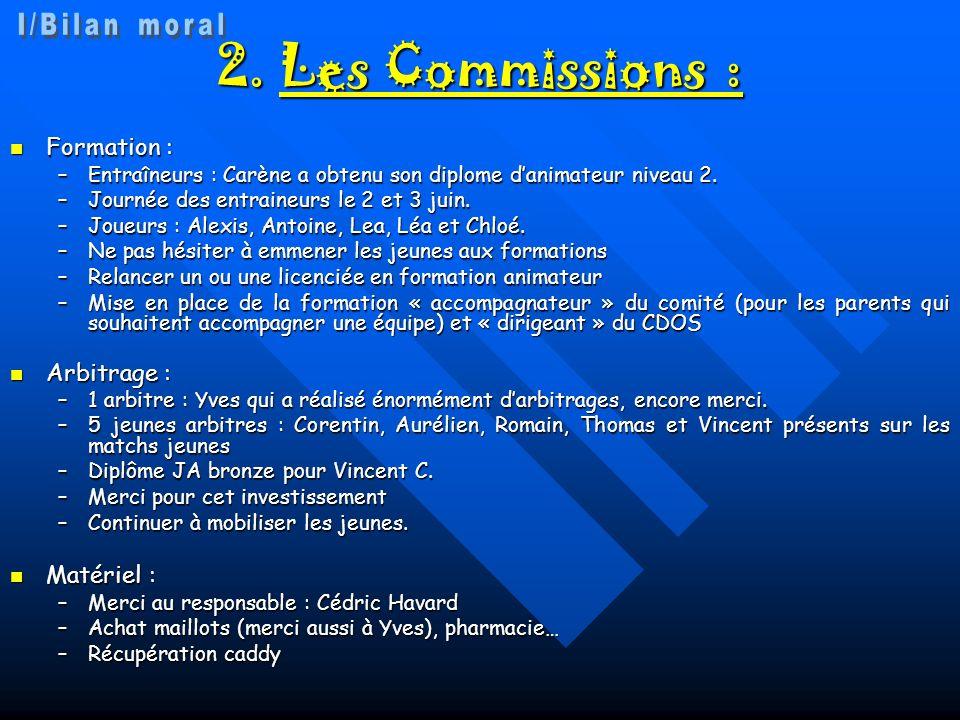 2. Les Commissions : I/Bilan moral Formation : Arbitrage : Matériel :