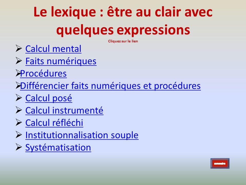 Le lexique : être au clair avec quelques expressions Cliquez sur le lien