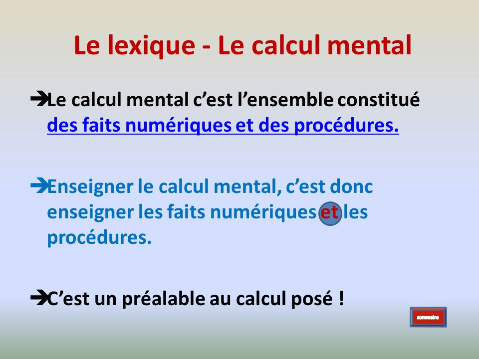 Le lexique - Le calcul mental