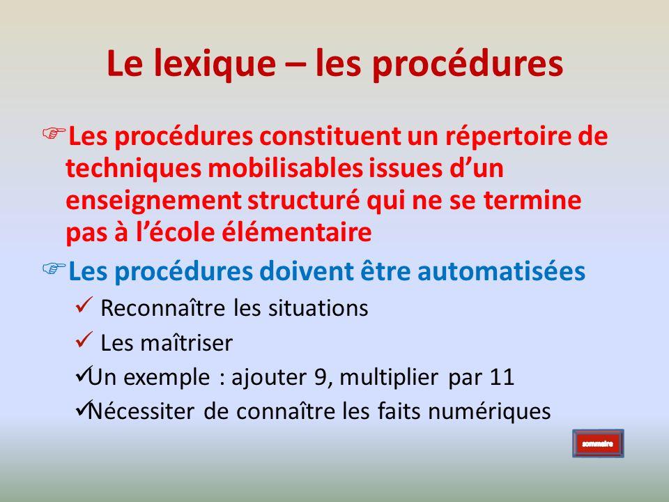 Le lexique – les procédures