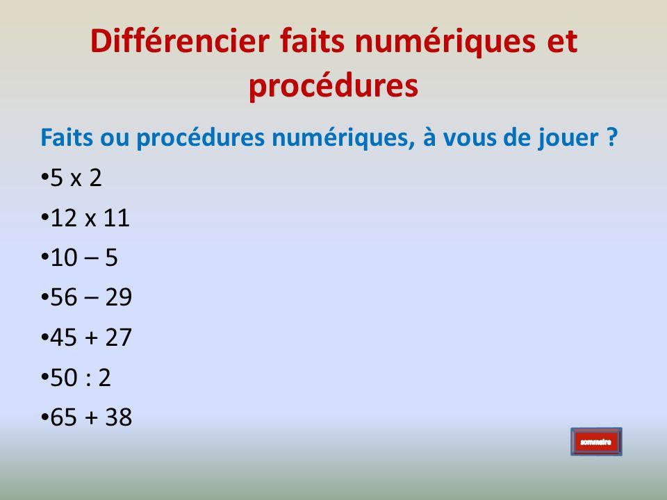 Différencier faits numériques et procédures