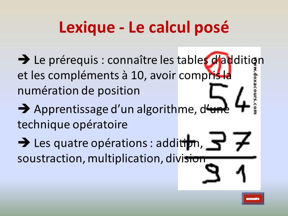 Lexique - Le calcul posé