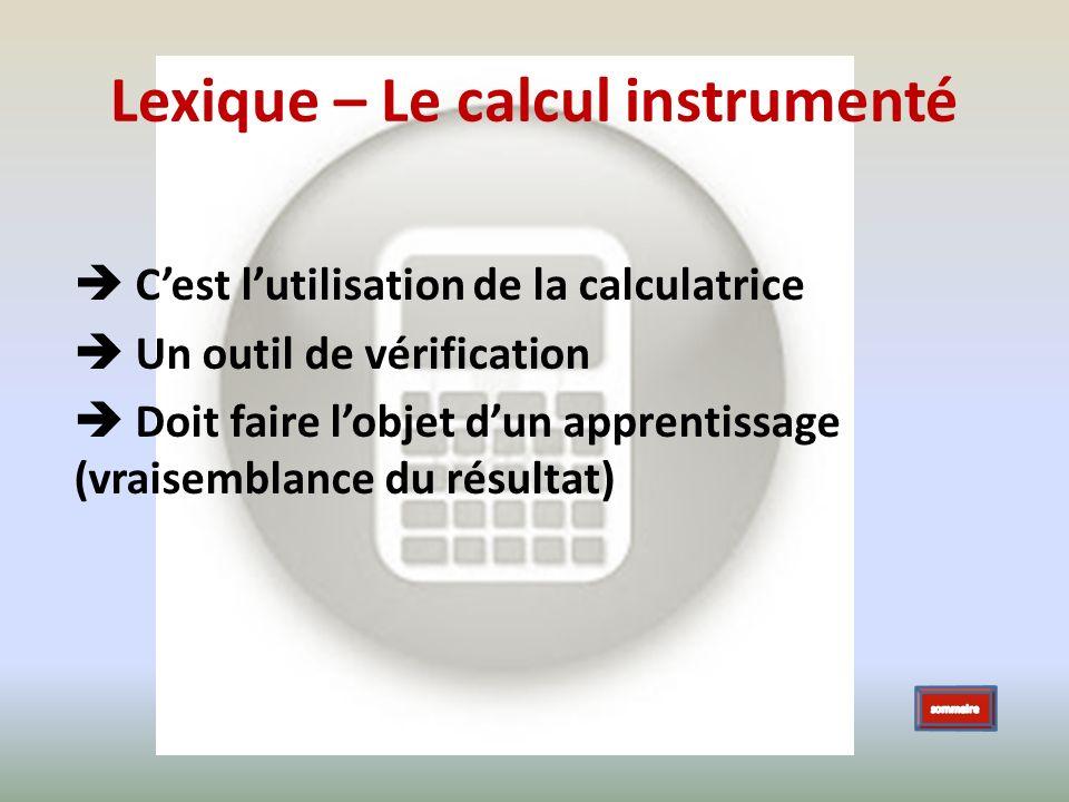 Lexique – Le calcul instrumenté