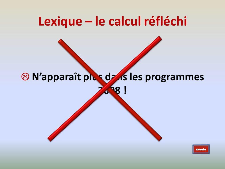 Lexique – le calcul réfléchi