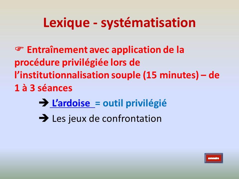 Lexique - systématisation