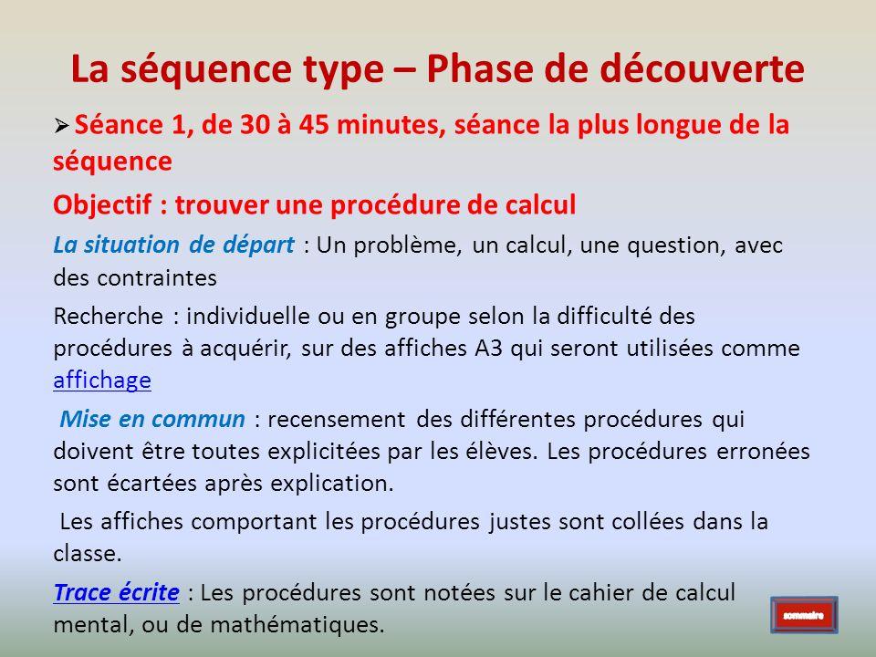 La séquence type – Phase de découverte