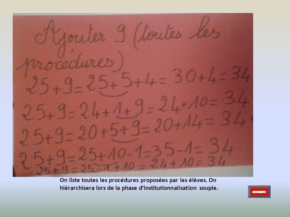 On liste toutes les procédures proposées par les élèves