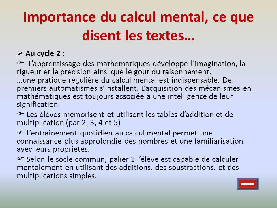 Importance du calcul mental, ce que disent les textes…
