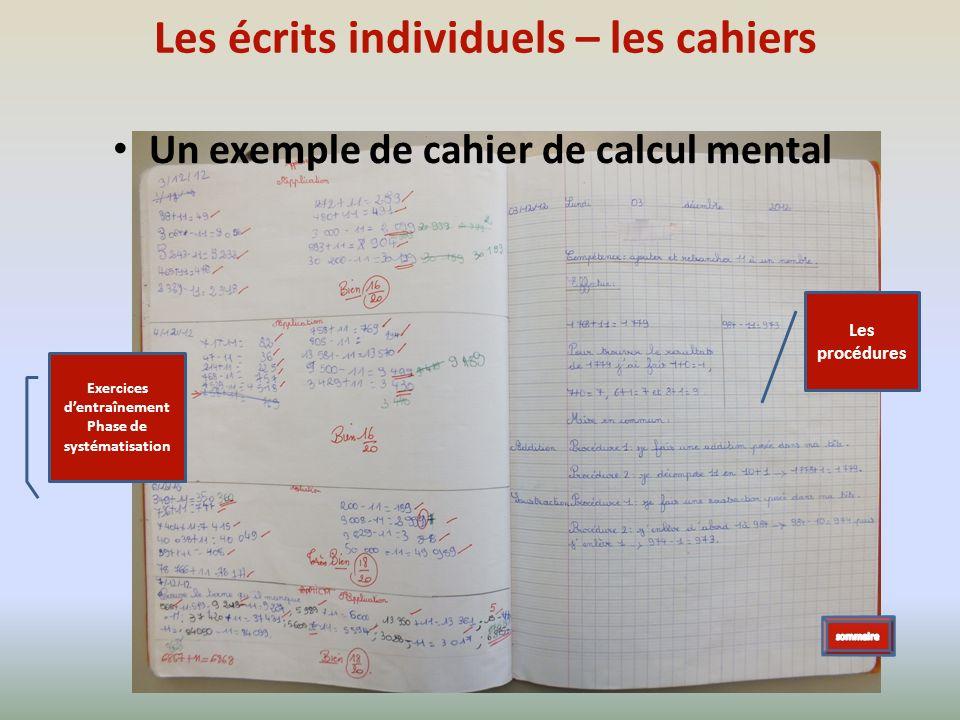 Les écrits individuels – les cahiers
