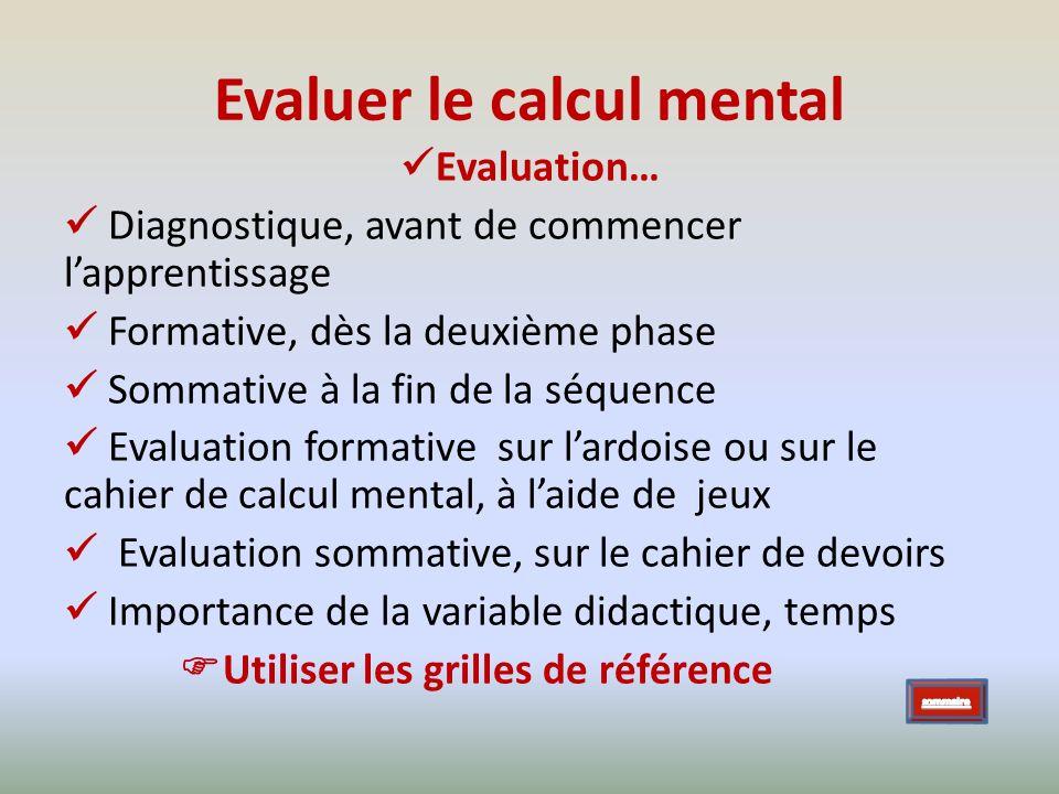 Evaluer le calcul mental