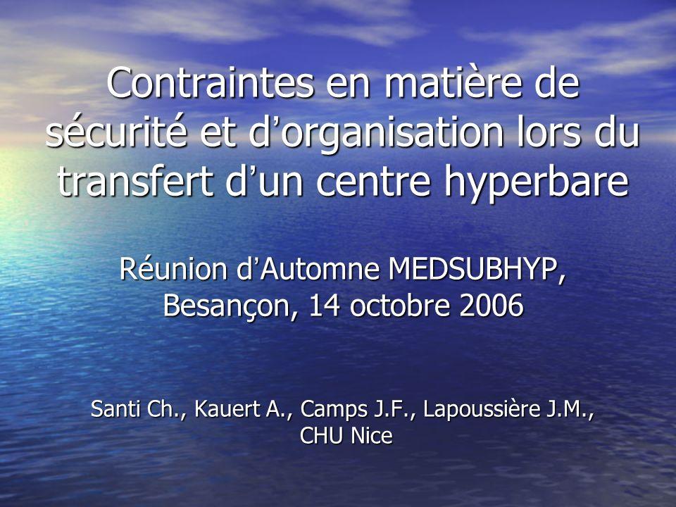 Contraintes en matière de sécurité et d'organisation lors du transfert d'un centre hyperbare Réunion d'Automne MEDSUBHYP, Besançon, 14 octobre 2006 Santi Ch., Kauert A., Camps J.F., Lapoussière J.M., CHU Nice