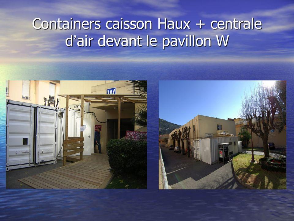 Containers caisson Haux + centrale d'air devant le pavillon W