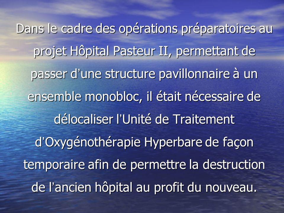 Dans le cadre des opérations préparatoires au projet Hôpital Pasteur II, permettant de passer d'une structure pavillonnaire à un ensemble monobloc, il était nécessaire de délocaliser l'Unité de Traitement d'Oxygénothérapie Hyperbare de façon temporaire afin de permettre la destruction de l'ancien hôpital au profit du nouveau.