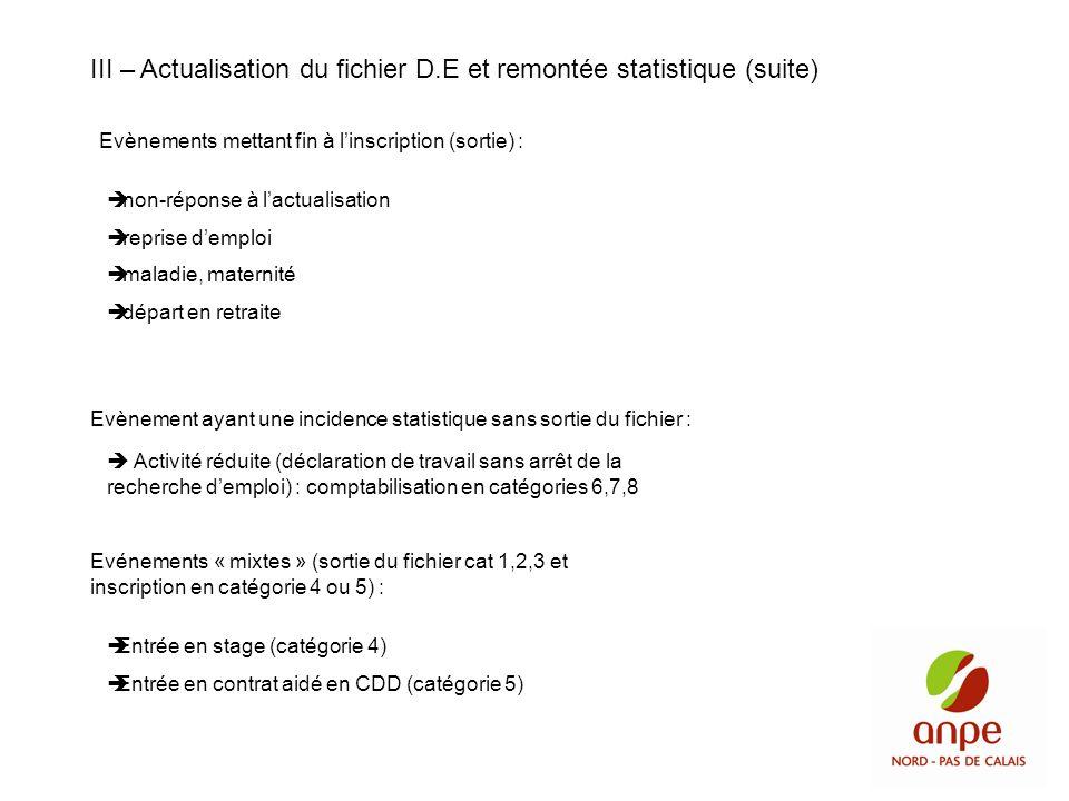 III – Actualisation du fichier D.E et remontée statistique (suite)