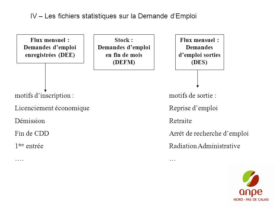IV – Les fichiers statistiques sur la Demande d'Emploi