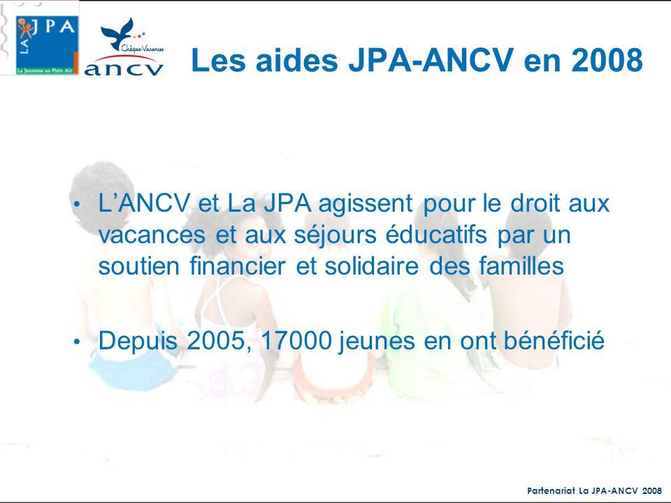 Les aides JPA-ANCV en 2008
