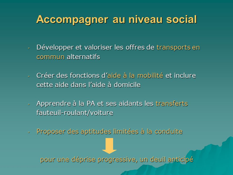 Accompagner au niveau social