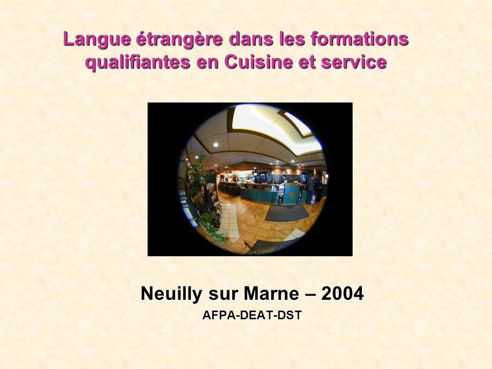 Langue étrangère dans les formations qualifiantes en Cuisine et service