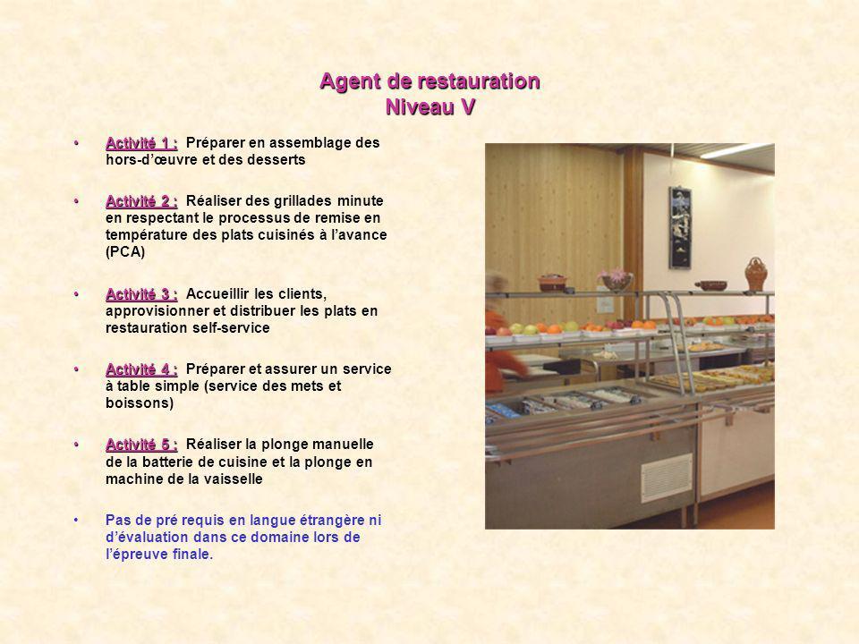 Agent de restauration Niveau V