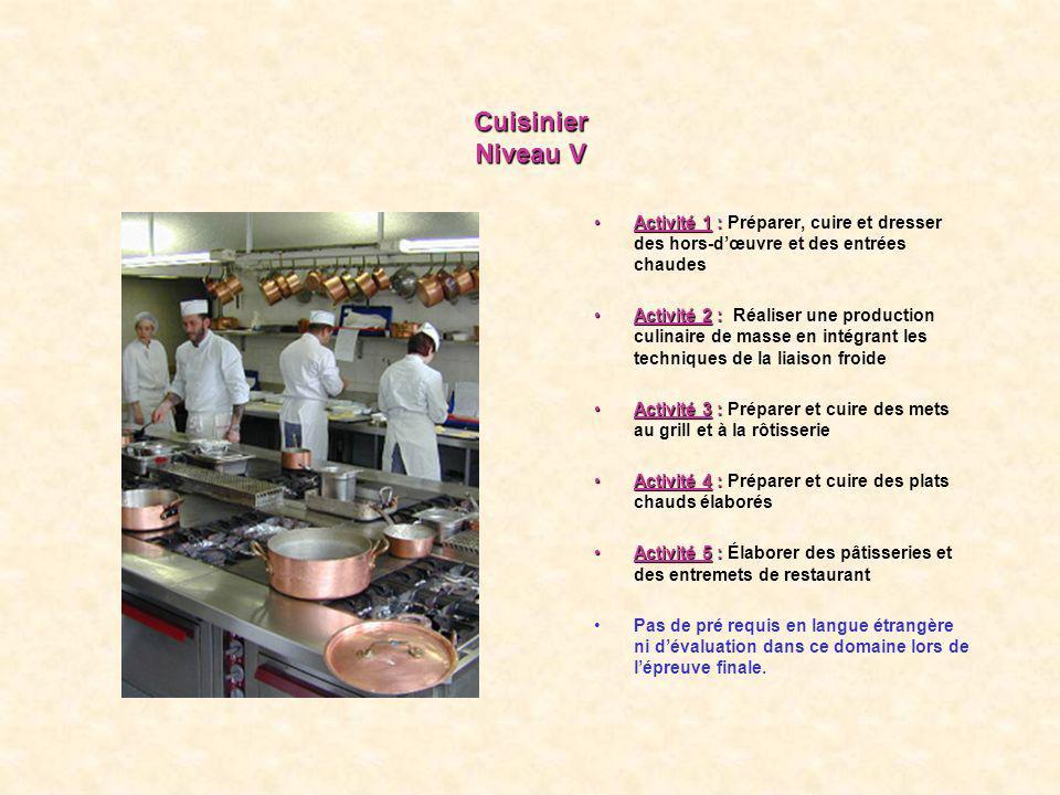 Cuisinier Niveau V Activité 1 : Préparer, cuire et dresser des hors-d'œuvre et des entrées chaudes.