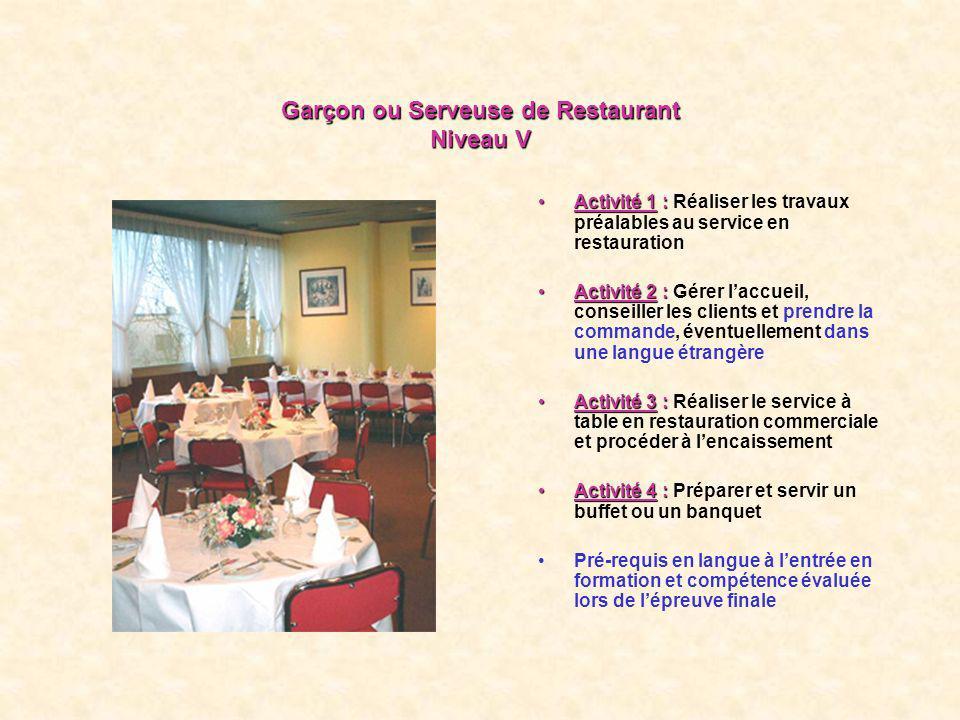 Garçon ou Serveuse de Restaurant Niveau V