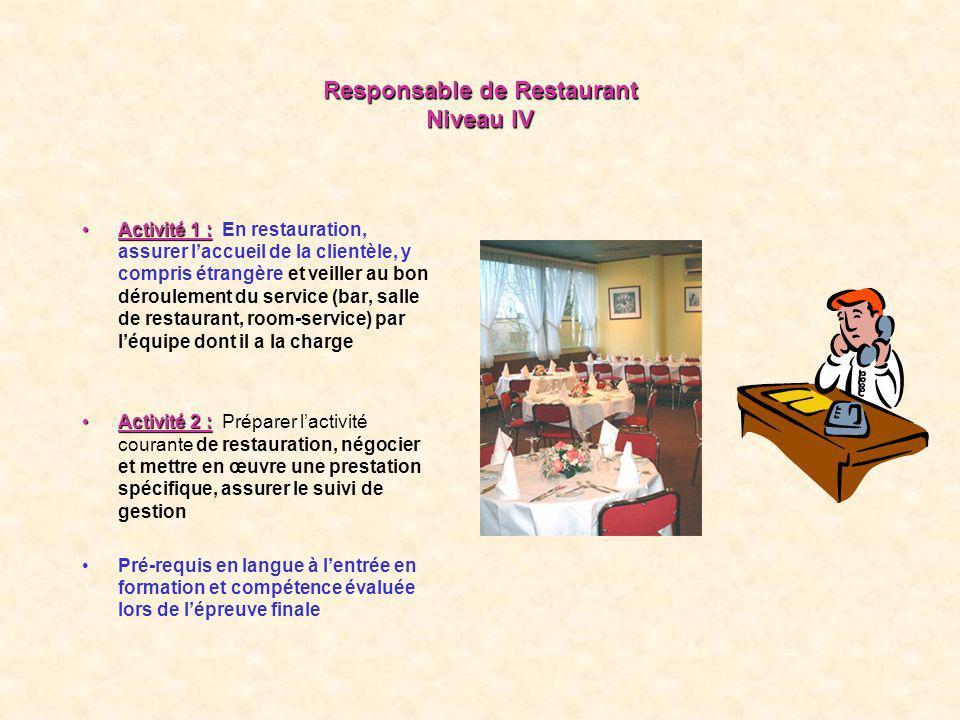 Responsable de Restaurant Niveau IV
