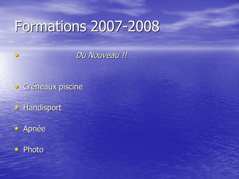 Formations 2007-2008 Du Nouveau !! Créneaux piscine Handisport Apnée