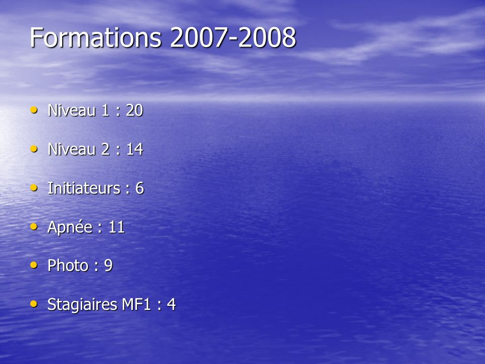 Formations 2007-2008 Niveau 1 : 20 Niveau 2 : 14 Initiateurs : 6