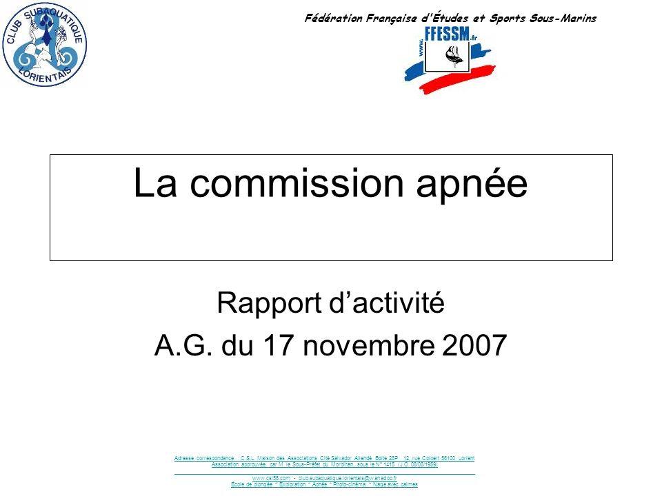 Rapport d'activité A.G. du 17 novembre 2007