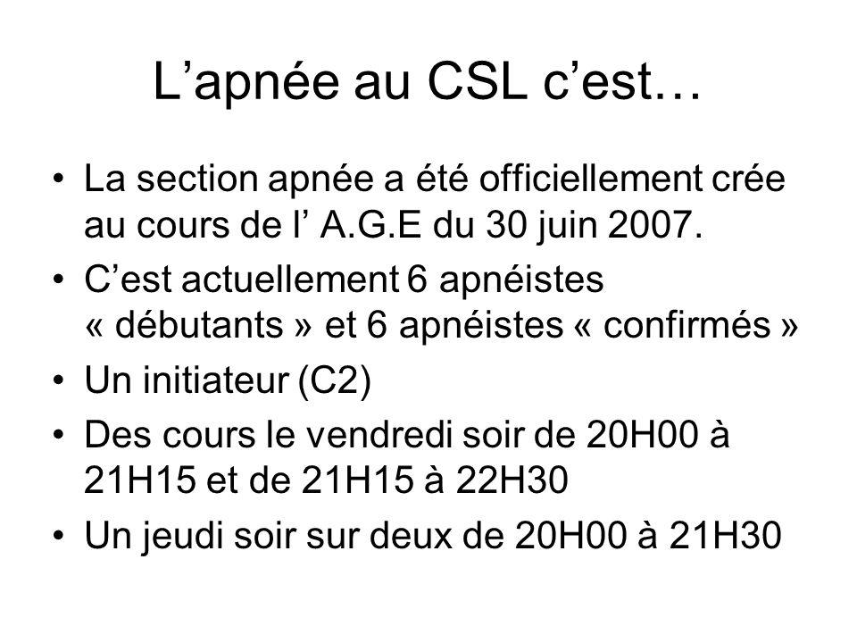 L'apnée au CSL c'est… La section apnée a été officiellement crée au cours de l' A.G.E du 30 juin 2007.
