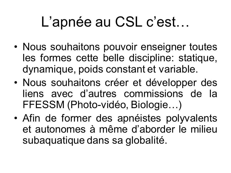 L'apnée au CSL c'est… Nous souhaitons pouvoir enseigner toutes les formes cette belle discipline: statique, dynamique, poids constant et variable.