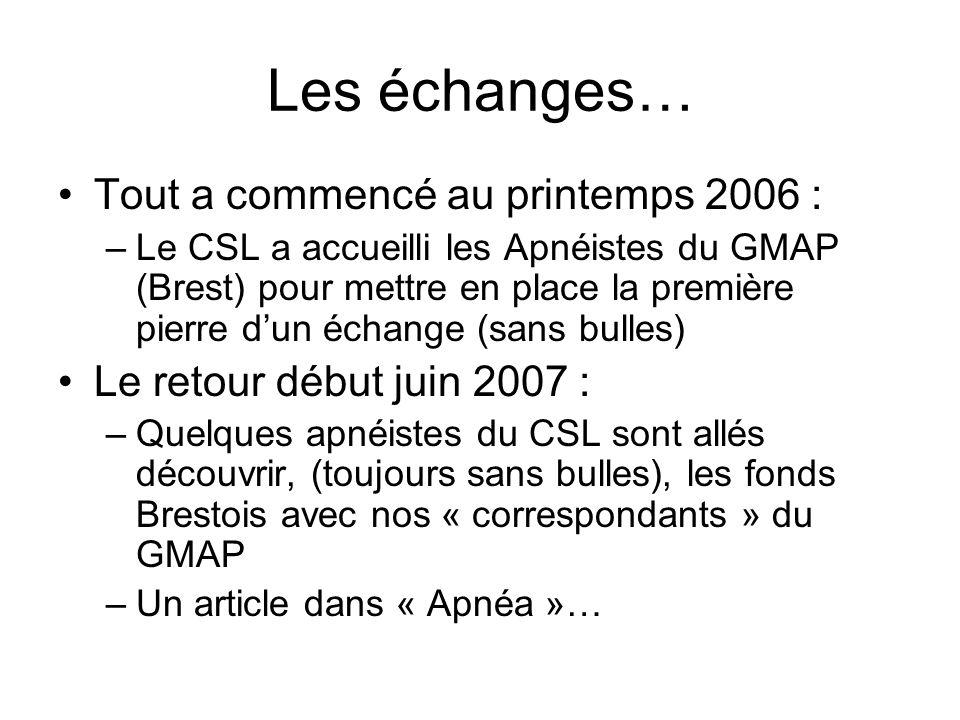 Les échanges… Tout a commencé au printemps 2006 :