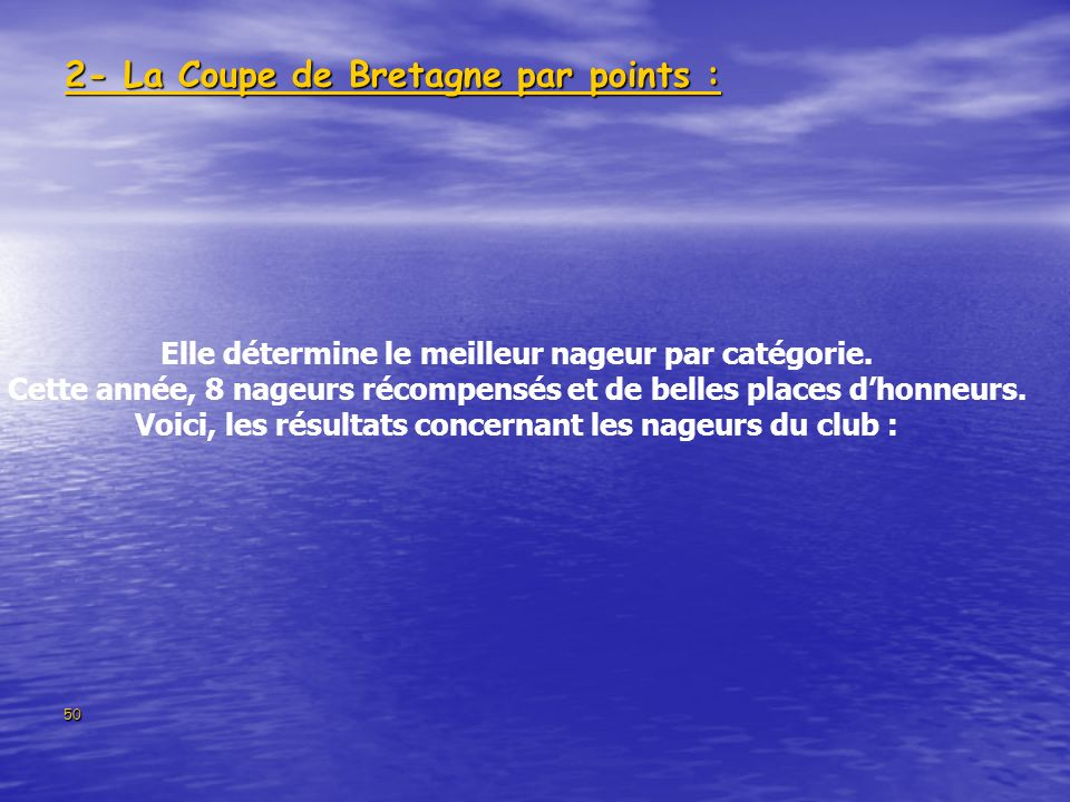 2- La Coupe de Bretagne par points :